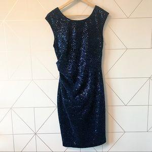 Eliza J Navy Blue Ruched Sequin Velvet Dress